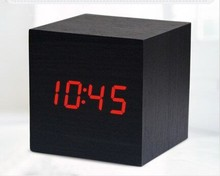 Wooden Alarm Clock Luminous Creative Bedside Table Top Table Students Mini Wood Clock Led Electronic Clock