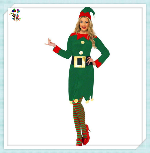 Cheap Non Woven Christmas Party Santa Helper Sexy Elf Costumes HPC-2438