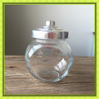 Promotional gift,600ml/21oz clear drum shaped glass jar for candy with pacifier metal lid