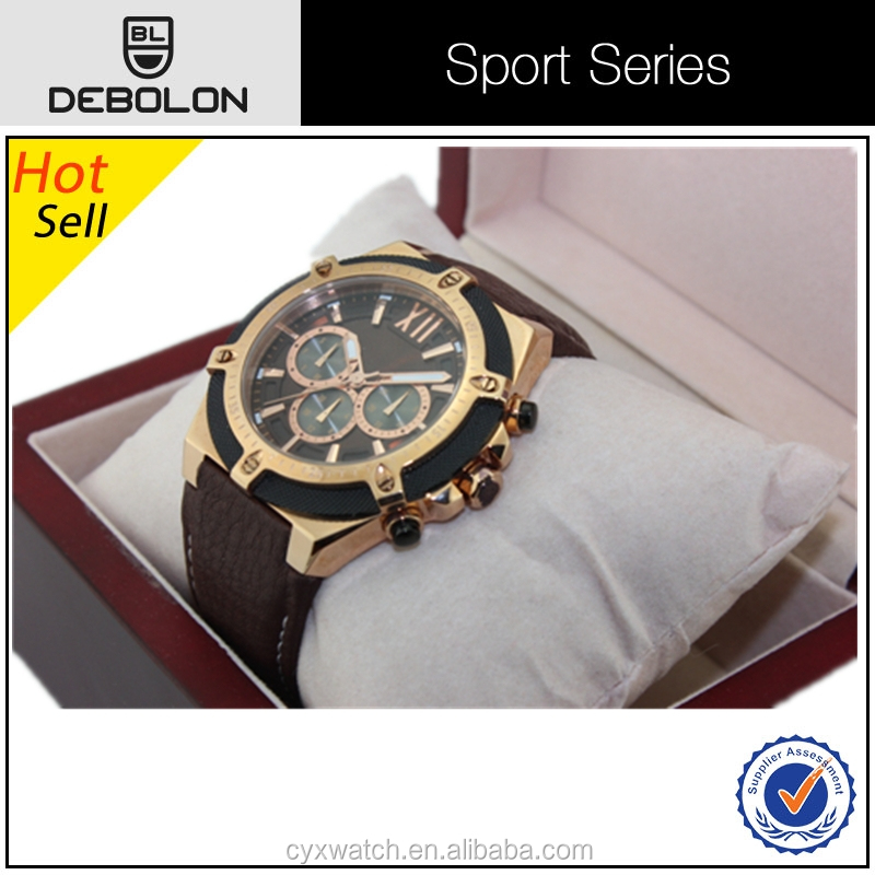 new fashion special design leather band men special luxury wrist quartz sport watch