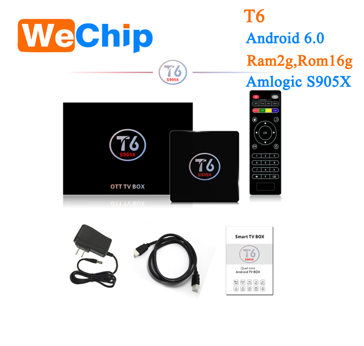 2017 Android Tv Box T6 Amlogic S905X Chip 4K 2G/16G Xbmc Full Hd Android 6.0 Media Player firmware update