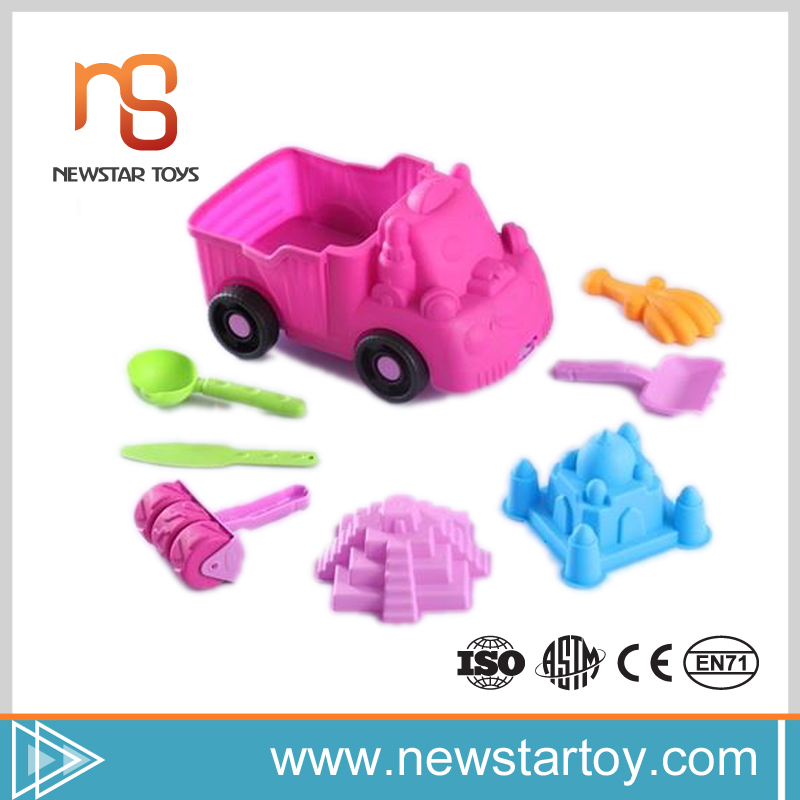 shantou creative 9pcs plastic truck beach bucket and spade for kids