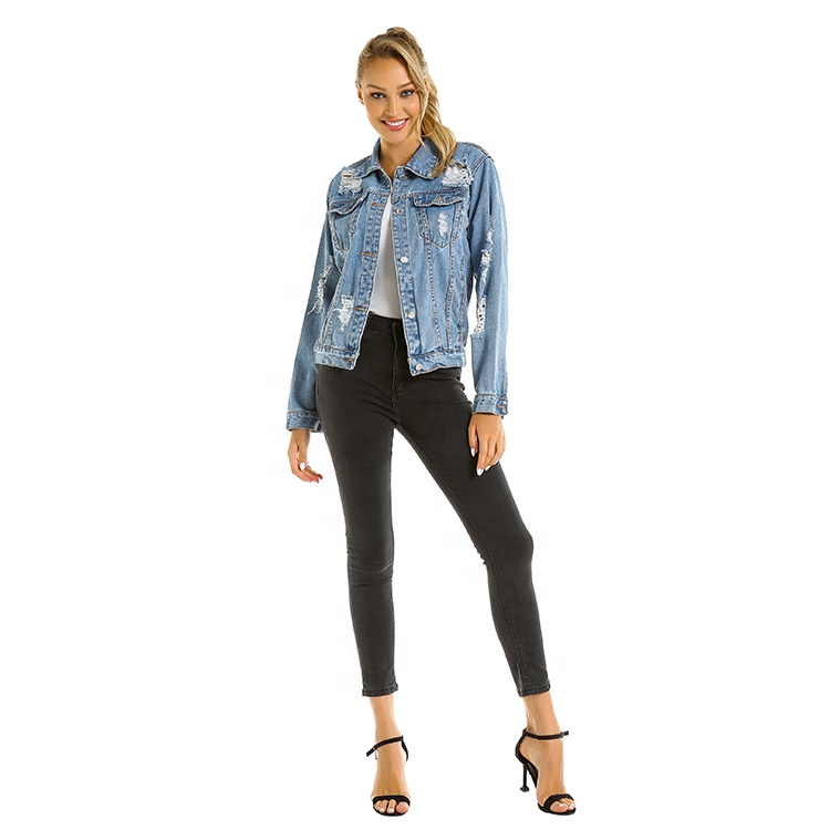 S580030 VZFF 2020 <strong>Hole</strong> Loose Ladies Blue Lapel Denim Jacket