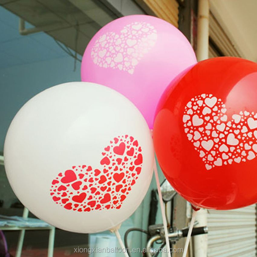 12 inch latex balloon metalic colour printed i love you marry me love balloons