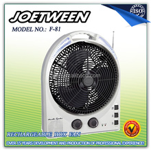 ABS solar usha rechargeable led fan light with radio F81