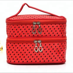 Wholesale 2018 New Designer Red Polyester Satin Portable Waterproof 2-Layer Polka Dots Toiletry Bag With a Handle for Women