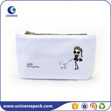 Custom printed canvas white cosmetic travel bag with zipper
