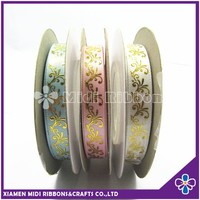 1cm Gold Foil Swril Print Satin Ribbon For Gift Package
