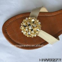 popular shoes buckles with acrylic and rhinestone ribbon flower