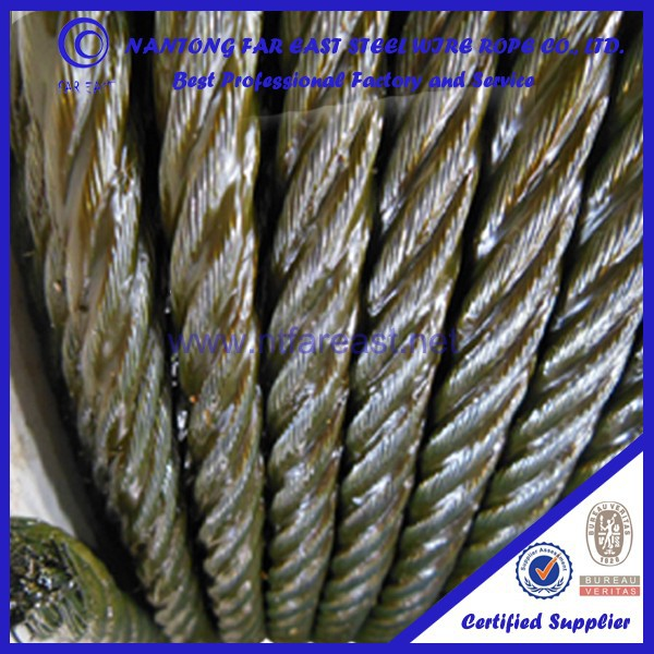 wholesale Ungalvanized bright fiber core steel wire rope 6*36+FC price of mooring rope