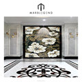 Fragrant garden-like atmosphere walling design stone mosaic medallion tile with white peony flower