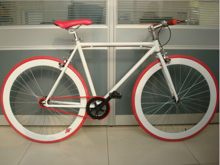 white/red 700C fixed bicycle /56cm 58cm fixie bike export to Europe, South America