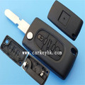 Replacement key shell case Keyless Entry Remote Fob 3 buttons flip key cover 406 blade with battery clamp(CE0536) Peugeot