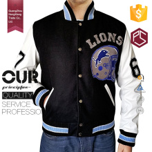 China HongXiong New Style High Quality Button Custom Logo Pockets Knitted Collar White And Black Polyester/Cotton Varsity Jacket