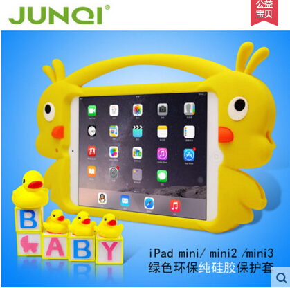 The New 3d Animal Shape Silicone Tablet Cover for iPad mini with Handles,For kids Soft Rubber Material Case for ipad mini2