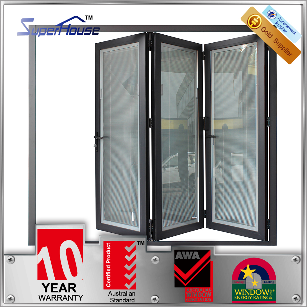 Superhouse double tempered glass bi folding doors/bifold glass door with insert blinds