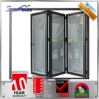 double tempered glass bi folding doors/bifold glass door with insert blinds