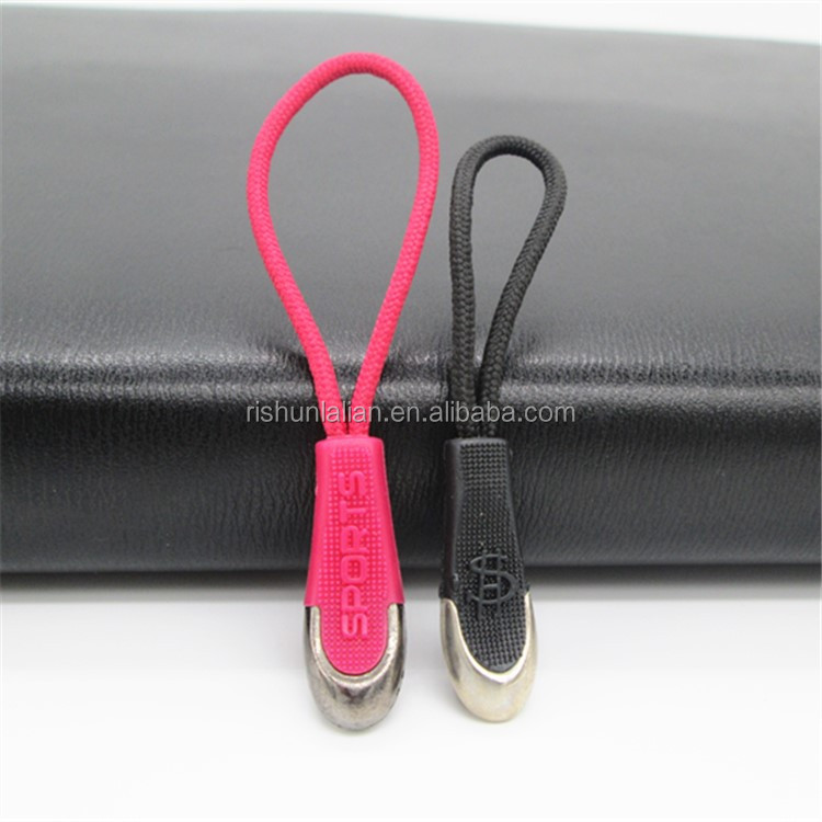 Rubber elastic custom metal pvc zipper puller zipper head for hundbags