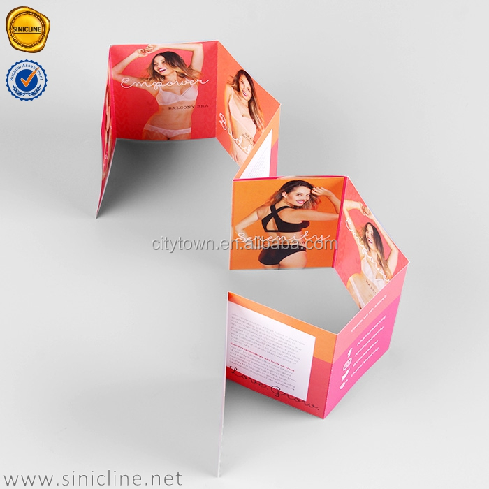 Sinicline factory pretty design women underwear catalogue booklet printing with folded leaflet