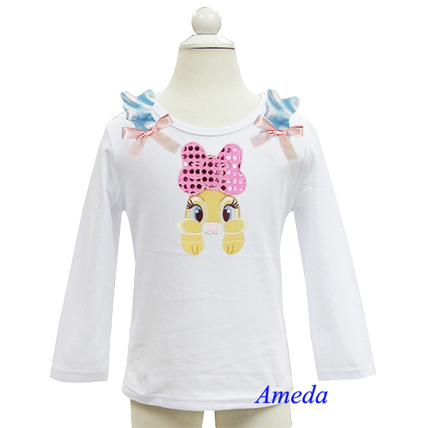 2014 Easter Blue Polka Dots Pink Bow Bling Bow Bunny White Long Sleeves Tee 3M-7Y