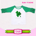 2017 Toddler baseball tee Easter clover 3/4 sleeves icing ruffle raglan shirt shamrock infant raglan tee