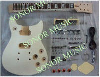 DIY Guitar Kit,Carved Guitar Body With Flamed Maple Top,Set Neck Guitar Kit