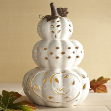 Fall Holiday Display Ceramic Stacked Pumpkin Tealight Holder