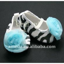 Baby Girl Zebra Crib Shoes with Turquoise Blue Rosettes 168A
