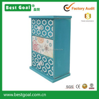 2015 BESTGOAL new design blue color printing distressed wooden jewelry box
