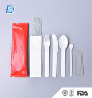 7in1 FDA Aviation Disposable Kids Plastic Elegant Individual Cutlery Set with Napkin