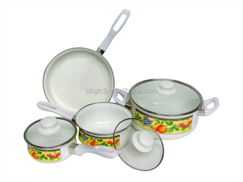 Enamel non-stick cookware sets