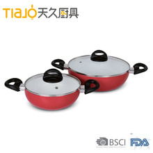 Mini ceramic coating pressed die cast aluminum wok with 2 handle and hiah tempered glass lid