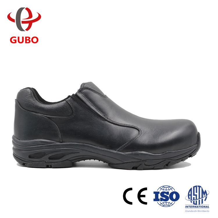 Convenient Whole Sale No Lace Simple Safety Shoes Elastic Top Layer Leather Comfort Footwear