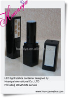 black empty lipstick tube with LED and mirror