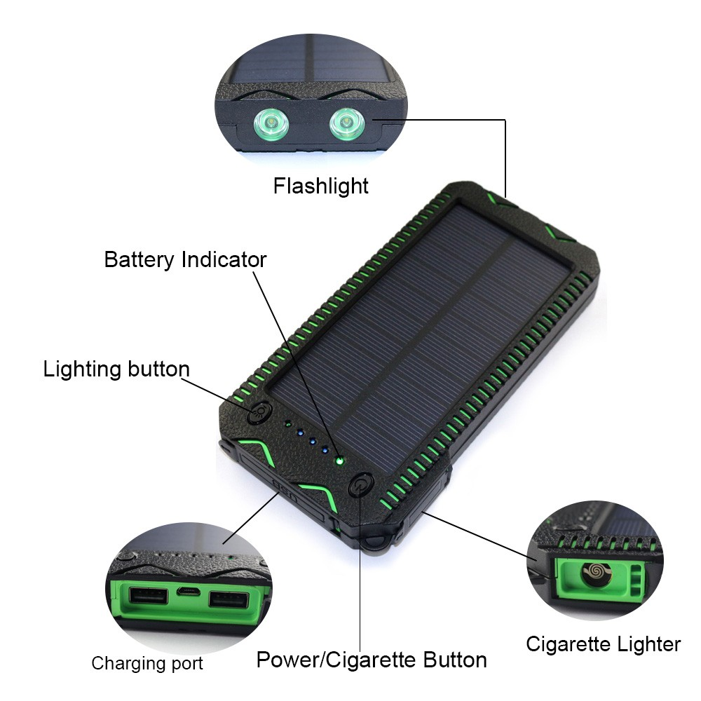 Shenzhen mindtech Portable Waterproof solar charger solar power bank 15000mAh with 2pcs Led light
