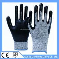 PE Nitrile Coated Cut Level 5 Safety Equipment Anti Cut Work Gloves From China