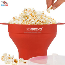 FINDKING high quality 290g DlY Collapsible Silicone Microwave Hot Air Popcorn Popper Bowl folding Silicone Popcorn maker
