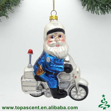 China factory direct wholesales christmas decoration hand blown glass santa riding motorcycle ornament