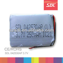 Built-in 3.7V 250mAh Li-ion Battery Terminal 042530