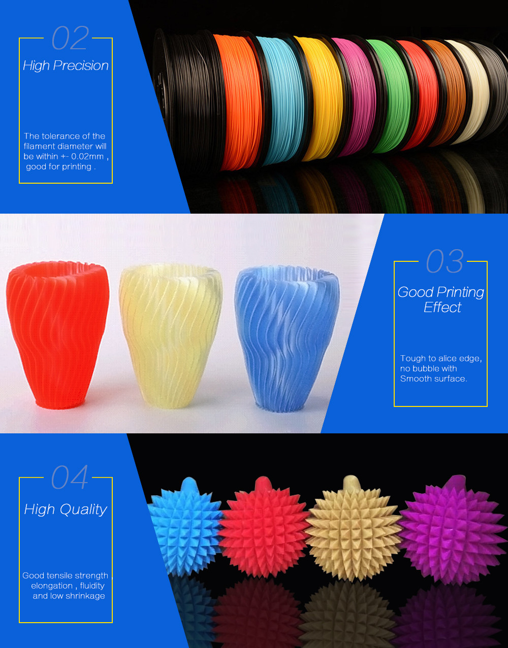 High Quality 3D Printer Filament 1.75MM ABS PLA 3D Filament for 3D Printers Printing Materials