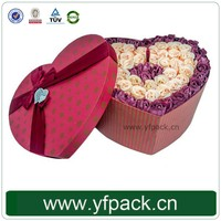 Red Hot Heart Shape Gift Flower Box With Ribbon On Top