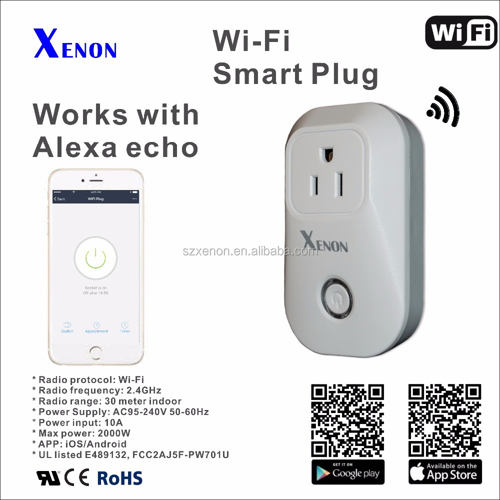 Xenon wifi smart echo wifi ups power plug socket outlet wifi plug works with Amazon Alexa Wireless smart outlet power socket