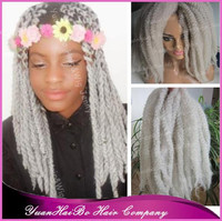"New Stock! 20"" fold silver gray kinky twists synthetic marley grey braid hair"