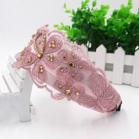 elegant knitted lace plastic beads floral bandand wedding headband hair band