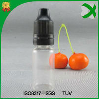 plastic e-liquid bottle for oil 10ml , 10ml clear pet tamperproof bottle , 10ml bottle childproof cap pet