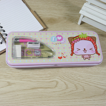 Lovely cartoon design back to school double layer metal tin pencil case with pencil ruler eraser and sharpener