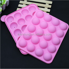 Silicone Cake Mold Lollypop Cupcake Baking Mold Cake Pop Stick Mold Tray Pink with 20 Sticks