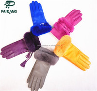 Ladies fashion drees skin color glove with fur