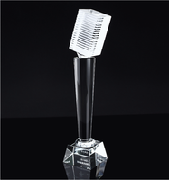 Manufacturer high quality cheap crystal awards crystal microphone trophy for music awards