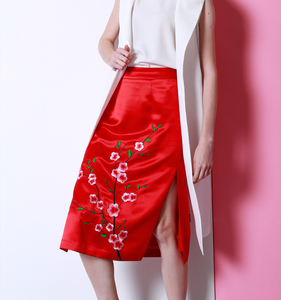 Latest Elegant Embroidery Wrap Designer Midi Pencil Skirt